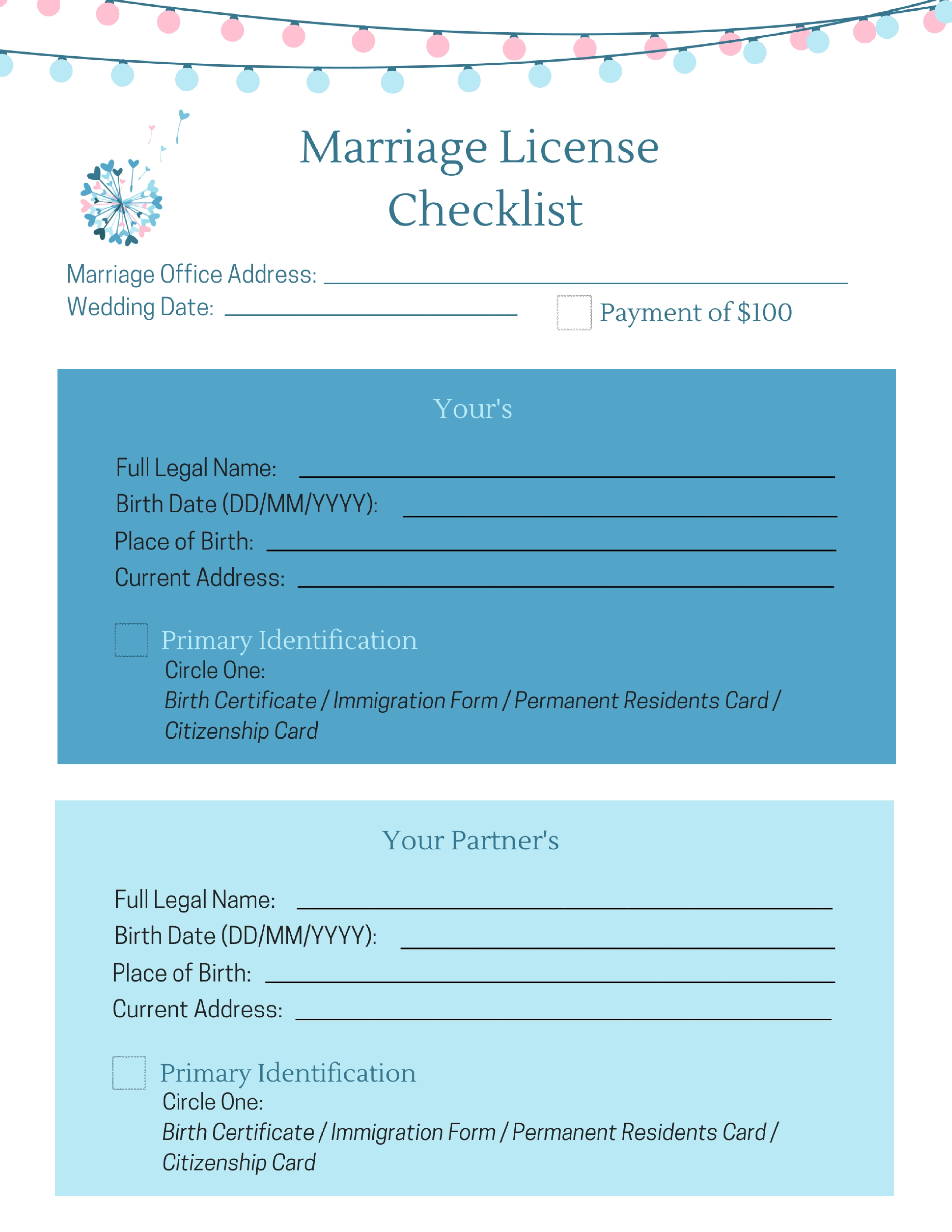 Marriage License Checklist - A Wish to Wed Society