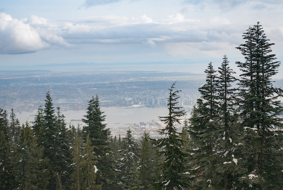 The view at Grouse Mountain overlooking Vancouver Downtown.